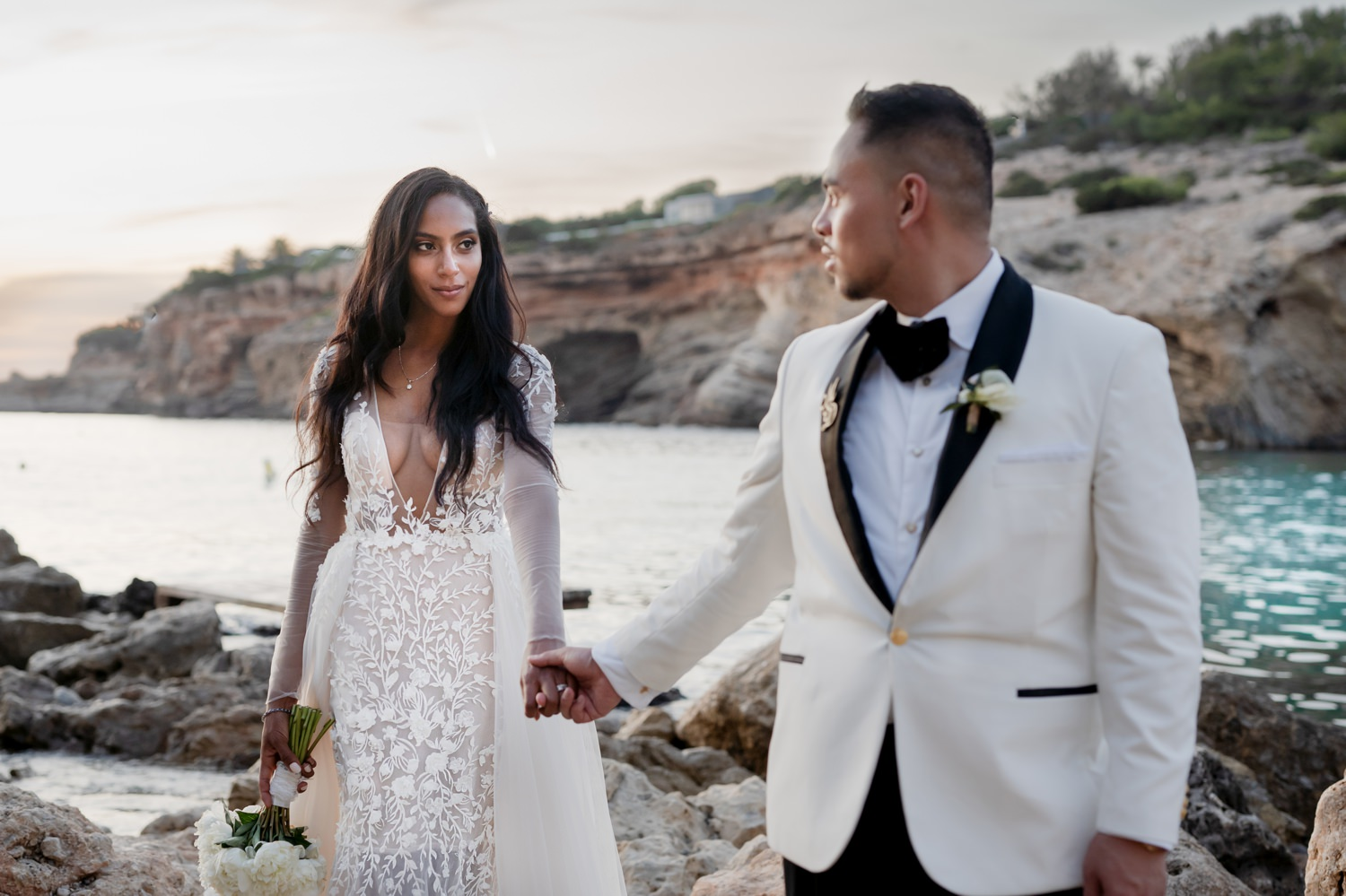 ibiza wedding bride in a bertal bridal dress